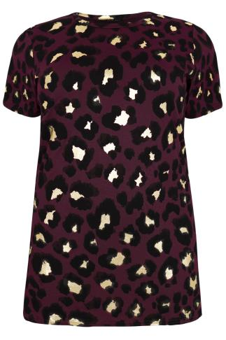 Wine & Black & Gold Leopard Print Top With Side Slits