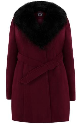 Coats Wine Coat With Faux Fur Collar & Tie Waist 120069