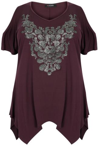 Wine Cold Shoulder Top With Hanky Hem & Caviar Beading