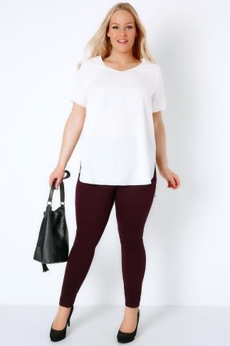 Wine Jeggings With Elasticated Waist 101577