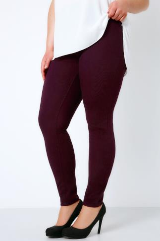 Wine Jeggings With Elasticated Waist