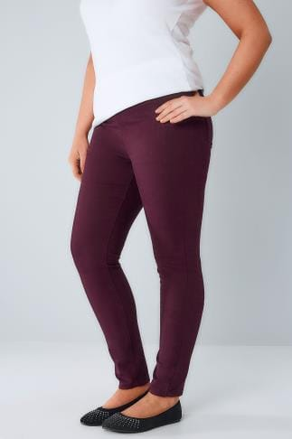 Jeggings Wine Jeggings With Elasticated Waist 101577