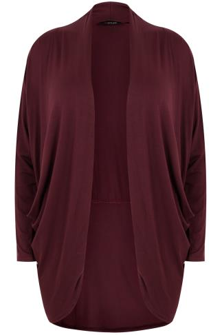 Wine Jersey Cardigan With Drape Pockets