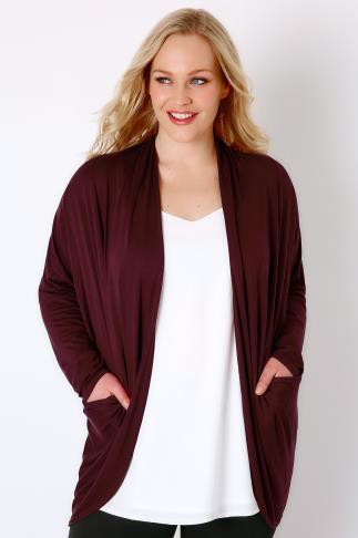 Cardigans Wine Jersey Cardigan With Drape Pockets 134013