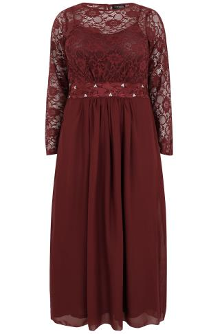 Wine Lace Maxi Dress With Embellished Waist