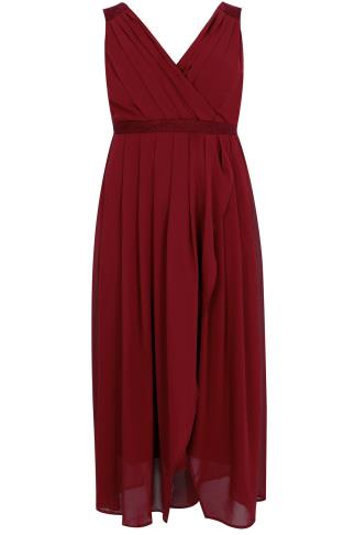 Wine Ruched Chiffon Maxi Wrap Dress With Lace Detail