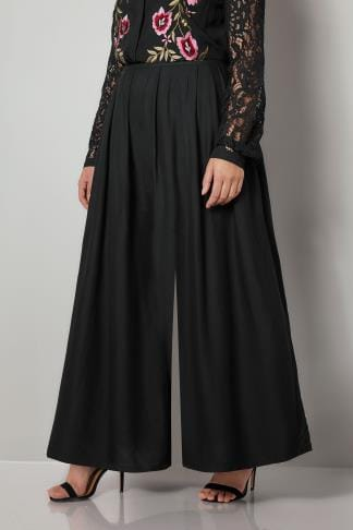 Wide Leg & Palazzo Trousers YOURS LONDON Black Extreme Wide Leg Trousers 156282
