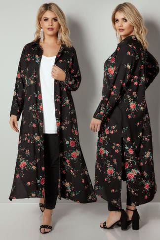 Shirts YOURS LONDON Black & Red Floral Print Maxi Shirt 156326