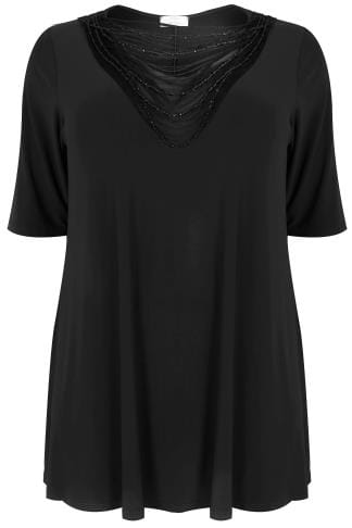 YOURS LONDON Black Slinky Jersey Top With Beaded Necklace Trim