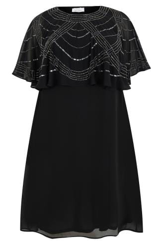 YOURS LONDON Black Stone & Sequin Embellished Cape Midi Dress