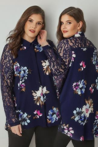 Blouses & Shirts YOURS LONDON Navy Floral Print Shirt With Lace Sleeves 156331