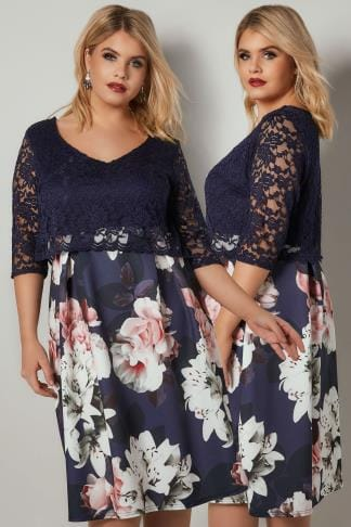 Party Dresses YOURS LONDON Navy & Multi Floral Print Lace Overlay Midi Dress 156314