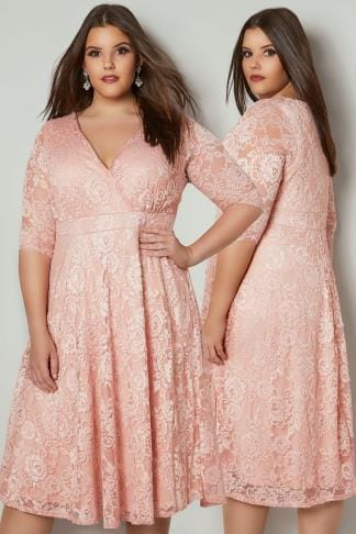 Midi Dresses YOURS LONDON Pink Floral Lace Wrap Dress 156325