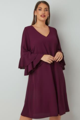 Swing & Shift Dresses YOURS LONDON Purple Shift Dress With Layered Flute Sleeves 156288