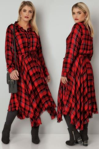 Midi Dresses YOURS LONDON Red & Black Checked Dress With Hanky Hem 156242