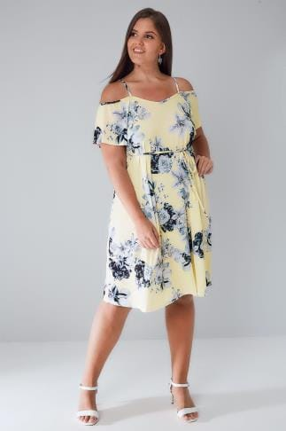 Party Dresses Yellow & Grey Floral Cold Shoulder Jersey Cami Dress With Waist Tie 136138