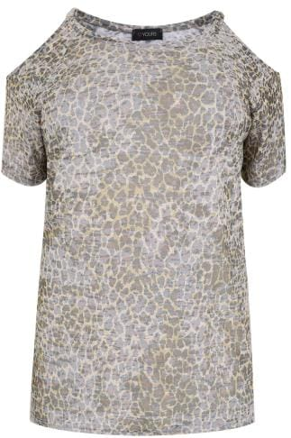 Bardot & Cold Shoulder Tops Yellow & Brown Burn Out Animal Print Cold Shoulder Top 170202