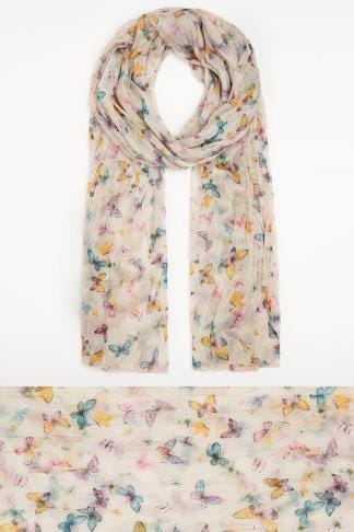 Scarves Yellow & Multi Butterfly Print Crinkled Scarf 152059