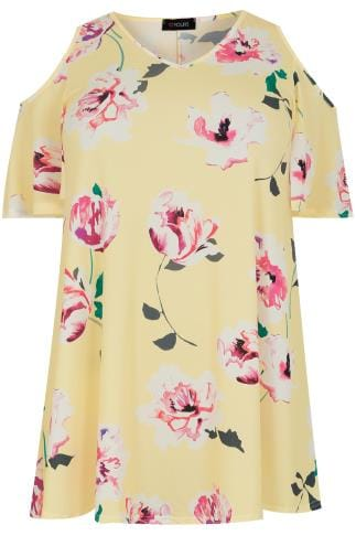 Yellow & Multi Cold Shoulder Floral Swing Top