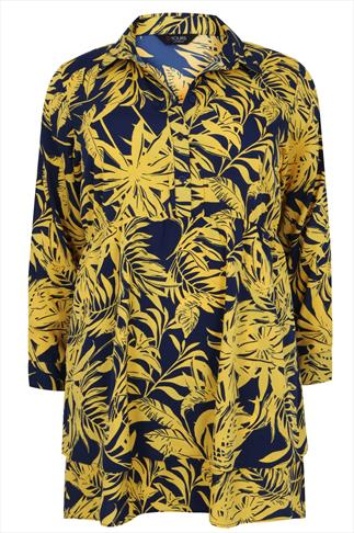 Yellow & Navy Tropical Print Longline Shirt
