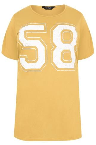 Yellow Oversized Varsity 58 Print T-Shirt