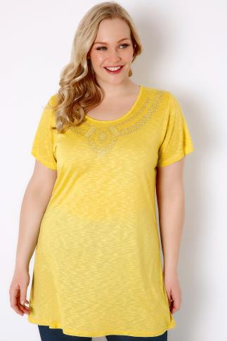 Yellow Textured Jersey Top With Jewel Embellishment 170026