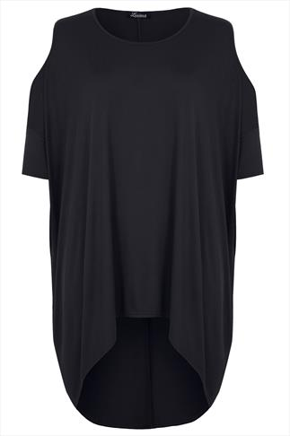Black Oversized Top With Cold Shoulder Cut Out & Extreme Dipped Hem