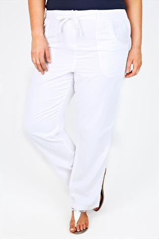 White Cotton Twill Full Length Roll Up Trousers