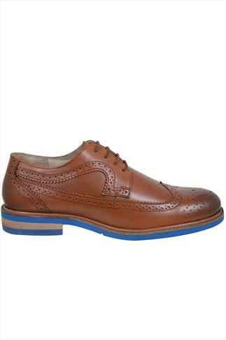 Shoes Tan LEATHER Lace-Up Brogues With Contrast Sole 055467