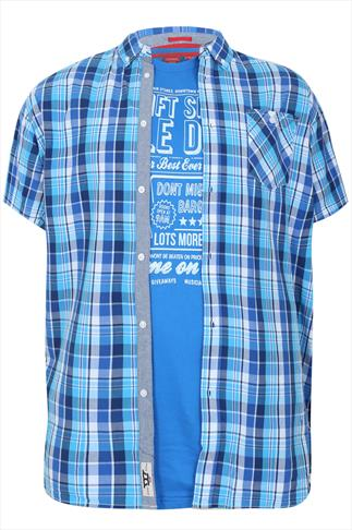 D555 Short Sleeve Blue Shirt & T-shirt Combo