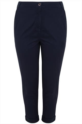 Navy Chino Trousers With Turn Back Cuffs