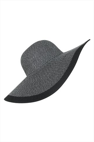 Silver Sparkle & Black Straw Wide Brimmed Hat