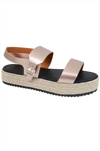 Rose Gold PU Flatform Espadrille Sandal In E Fit