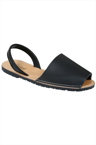 Black Real Leather Peep Toe Sandals In E Fit
