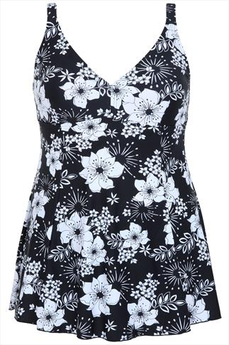 TUMMY CONTROL Black & White Floral Print Princess Seam Swimdress