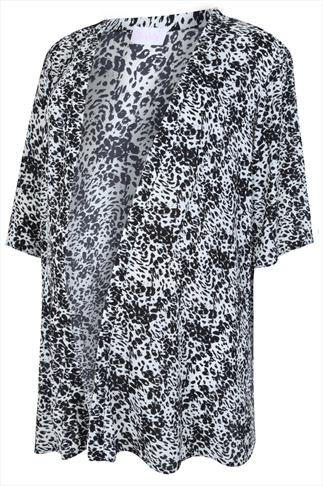 BUMP IT UP MATERNITY Black & Ecru Animal Print Cover Up