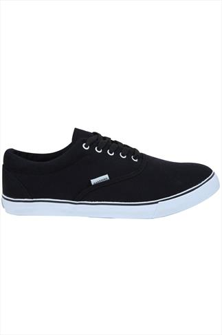 Black Canvas Lace Up Plimsolls