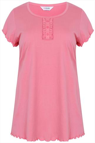 Coral Pyjama Top With Frill Detail