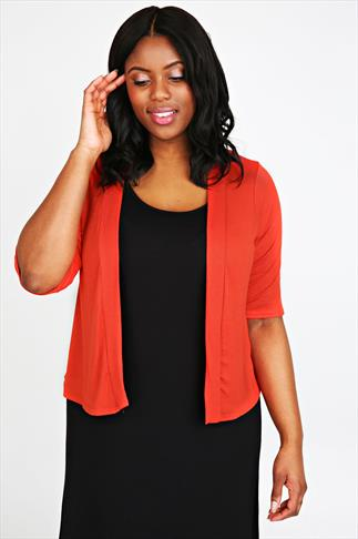 Orange Gathered Back Shrug