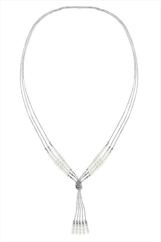 Silver Tone Pearl Beaded Knot Pendant Long Necklace