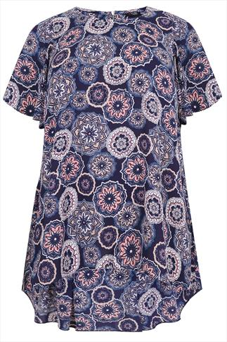 Blue Tile Print Chiffon Longline Top With Zip Back And Pleat Detail