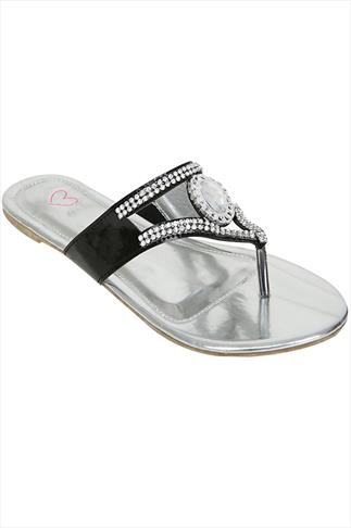 Black Rhinestone Toe Post Diamante Sandals In A EEE Fit