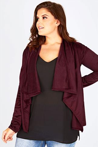 Wine Faux Suede Waterfall Jacket