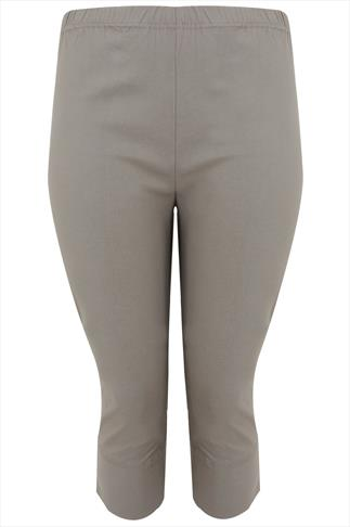 Khaki Pull On Stretch Cropped Trousers