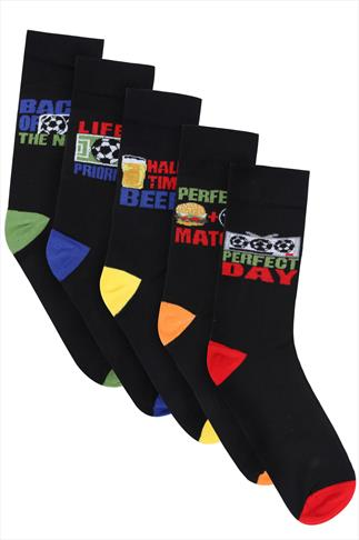 BadRhino Black 5 Pack Novelty Football Socks