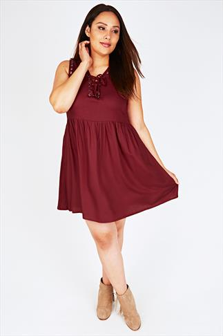 Burgundy Lace Up Skater Dress With Rivet Detail