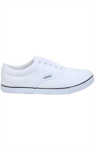 White Canvas Lace Up Plimsolls