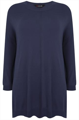 Denim Blue Longline Batwing Slouch Jumper With Side Slits