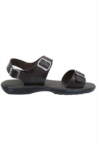 D555 Dark Brown 3 Strap Buckle Sandals
