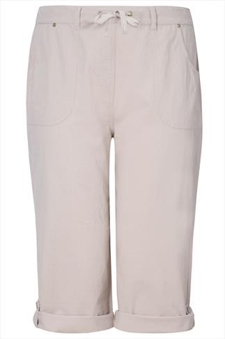 Stone Cool Cotton Roll-Up Crop Trousers With Stud Detail